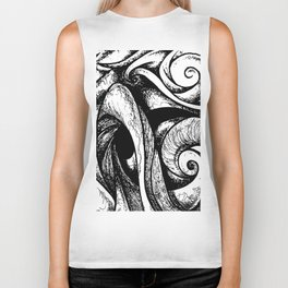 Swirl (black and white) Biker Tank