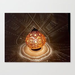 Batik pattern of the sun and rice field Canvas Print