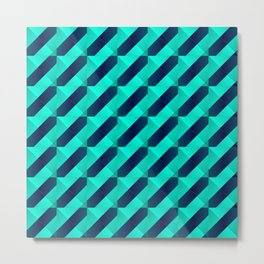 Graphic stylish texture with dark stripes and light blue squares in zigzag shapes. Metal Print