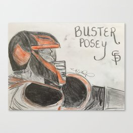 Buster Posey Catching Canvas Print
