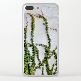 Upward Climbing (green vine on grey wall) Clear iPhone Case