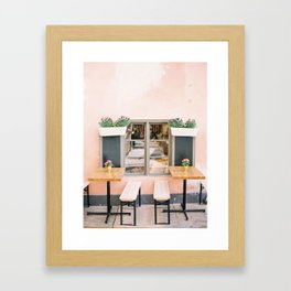 Pink Cafe in Sweeden Framed Art Print