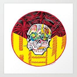 DEEP HELL TRI SKULL Art Print