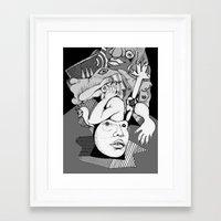 depression Framed Art Prints featuring Depression by Benson Koo