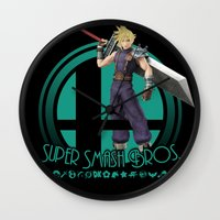 smash bros Wall Clocks featuring Cloud - Super Smash Bros. by Donkey Inferno