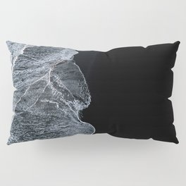 Waves on a black sand beach in iceland - minimalist Landscape Photography Pillow Sham