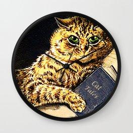 """""""Cat Tales"""" Cat Reading Book - Louis Wain Wall Clock"""