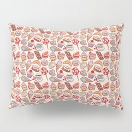 Hand drawn confectionery croissant Cupcake candy ice cream cake donut and coffee Pillow Sham