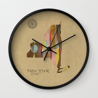 new york map Wall Clocks featuring new york state map by bri.buckley