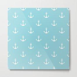 Nautical Blue Anchor Pattern Metal Print