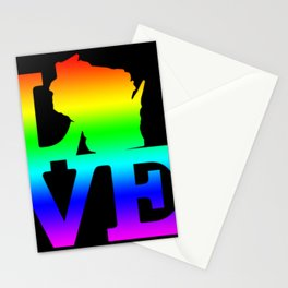 Wisconsin Pride USA State Love Map Stationery Cards