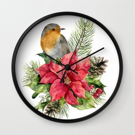 Merry Christmas. Watercolor Wall Clock