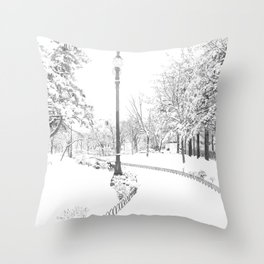 Winter snow city Throw Pillow