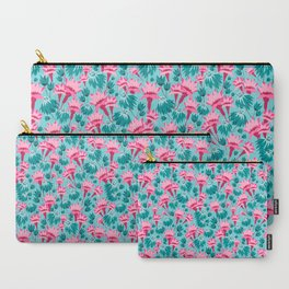 Pink & Teal Lovely Floral Carry-All Pouch