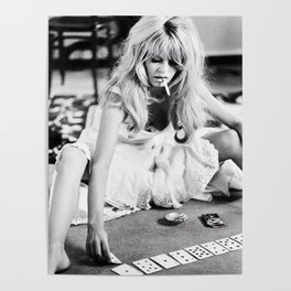 Brigitte Bardot Playing Cards, Black and White Photograph Poster