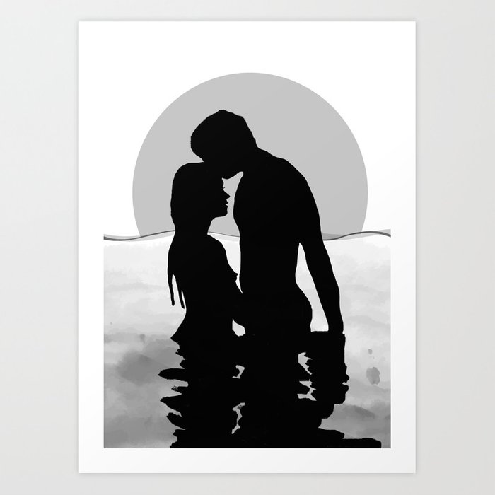 Lovers Black and White Art Print