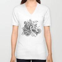 henna V-neck T-shirts featuring Henna Peacock by Brady Dempsey