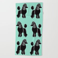 Black Standard Poodles with Mint Beach Towel