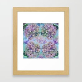 Watercolor hydrangeas and leaves Framed Art Print