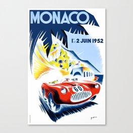 1952 Monaco Grand Prix Race Poster  Canvas Print