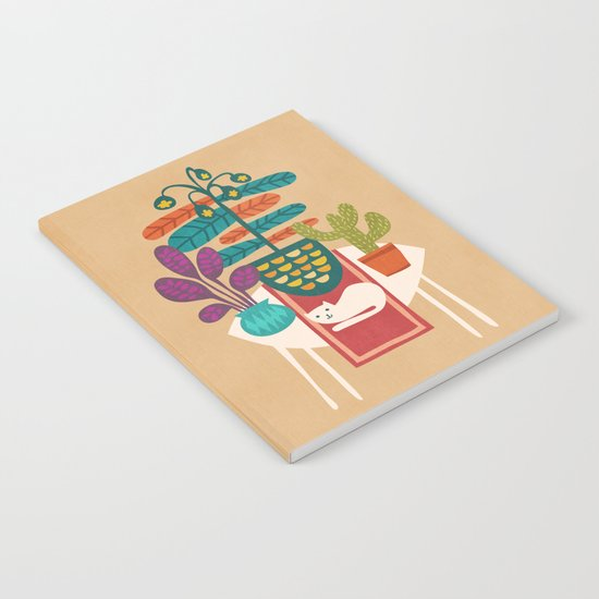 Indoor garden with cat Notebook