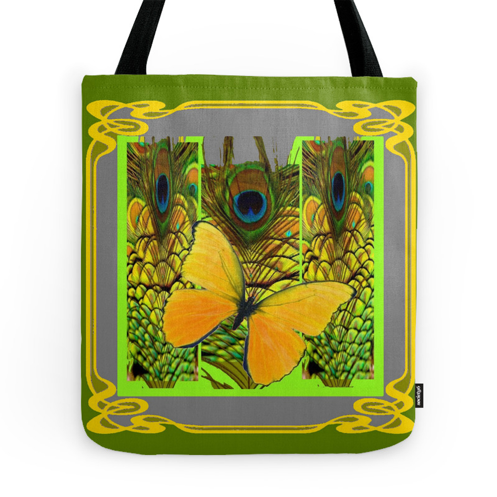 Green Art Nouveau Butterfly Peacock Patterns Tote Purse by sharlesart (TBG7427427) photo