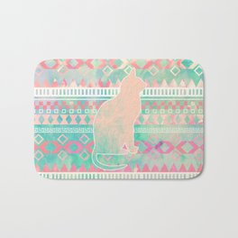 Whimsical Cat, Pink Turquoise Girly Aztec Pattern Bath Mat