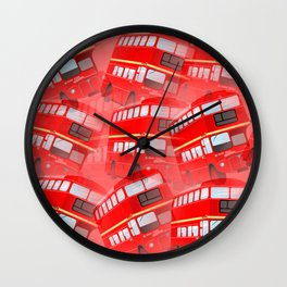 Red London Buses Wall Clock