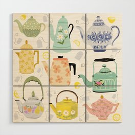 Vintage Teapots Wood Wall Art