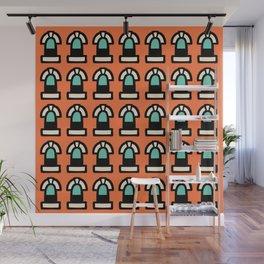 New York Windows Pattern 261 Orange and Green Wall Mural