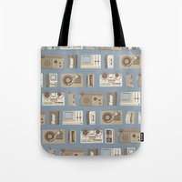 technology Tote Bags featuring Obsolete Technology by Daniel long Illustration