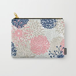 Floral Mixed Blooms, Blush Pink, Navy Blue, Gray, Beige Carry-All Pouch