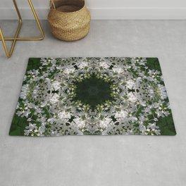 Botanical lace, white lilac mandala /kaleidoscope Rug