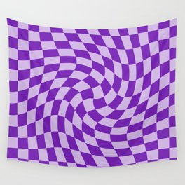Lilac Blue Night - simple warped check retro pattern Wall Tapestry