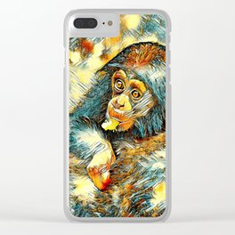 AnimalArt_Chimpanzee_20170604_by_JAMColorsSpecial Clear iPhone Case