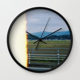rice field and mountain Wall Clock