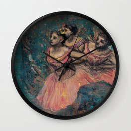 Three Dancers in Red Costume Wall Clock
