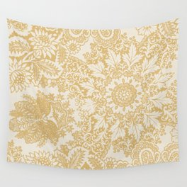 Floral in Yellow Wall Tapestry