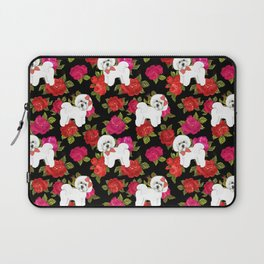 Bichon Frise gift, pink red floral , Bichon christmas gift, pet friendly dog breed gifts Laptop Sleeve