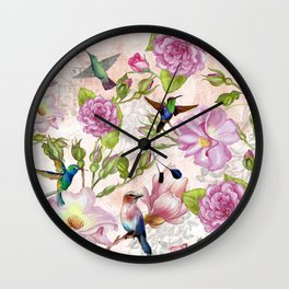 Vintage Roses and Hummingbird Pattern Wall Clock