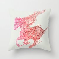 horse Throw Pillows featuring Horse by Huebucket