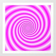 Pink and White Candy Swirl Art Print