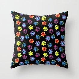 Black Rainbow Paw Print Pattern Throw Pillow