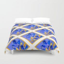 PATTERNED MODERN ABSTRACT BLUE & GOLD CALLA LILIES Duvet Cover