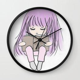 cute girl reading Wall Clock