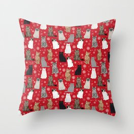 Cat red and white snowflakes festive winter gifts for cat person cat lady cat man christmas Throw Pillow