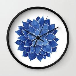 Indigo Succulent |  Watercolor Painting Wall Clock