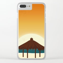 Summertime Sunset On The Beach Clear iPhone Case
