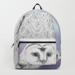 Owl with a third eye and crystal ball Backpack
