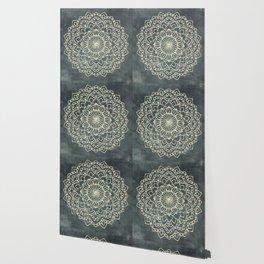 Sea Shimmer Mandala - Gold + Turquoise Wallpaper